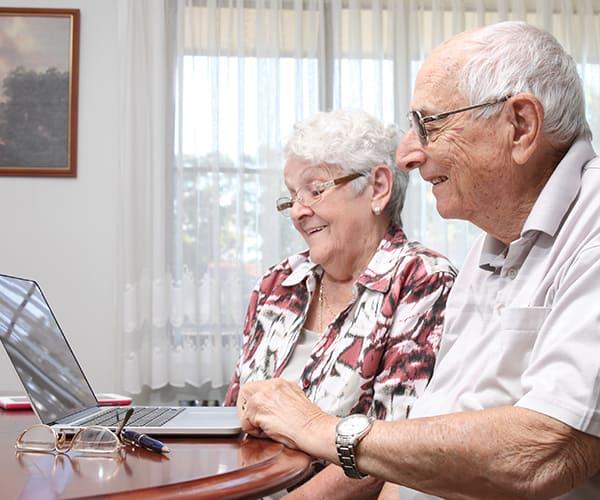 Residents using laptop