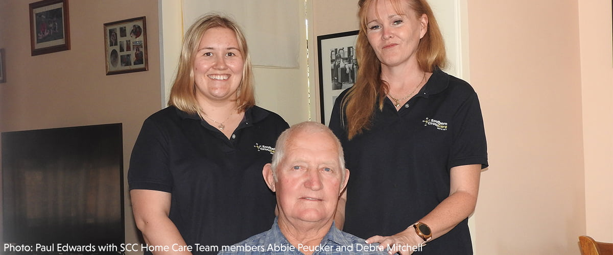 Paul Edwards with SCC Home Care Team members Abbie Peucker and Debra Mitchell